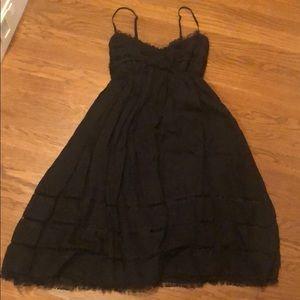 Black linen spaghetti strap dress